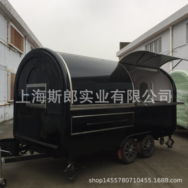 Export tractor snack truck mobile milk tea breakfast car black two-axis mobile fast food cart stall