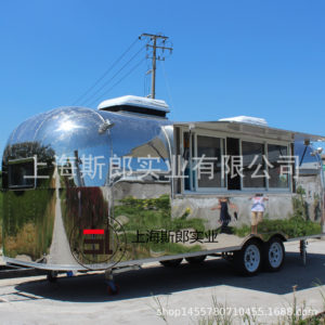 Multi-functional stainless steel mirror mobile dining car tow trailer snack truck factory export snack truck