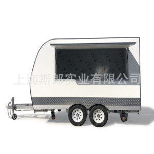 White new factory exports large trailer square motorhome lunch food truck subway mouth commercial street snack car