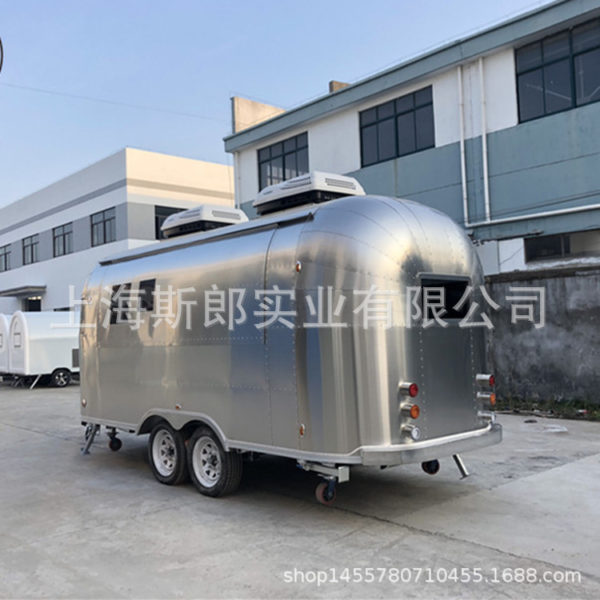 Large camp trailer stainless steel wire panel two-axis with brake gourmet car mobile store