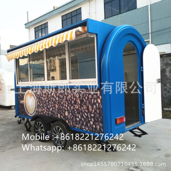 Factory direct sales tow hanging cake coffee cart with brake gourmet snack car barbecue spicy hot fruit car