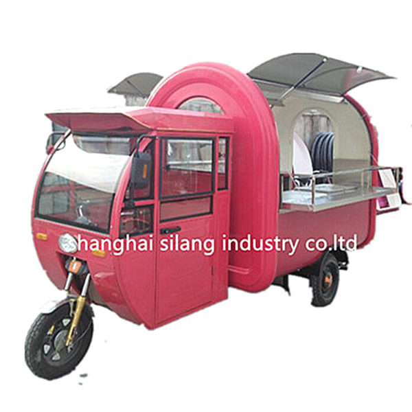 Professional factory exports Europe and the United States high standards with cab electric three-wheeled snack car French fries hamburger food truck