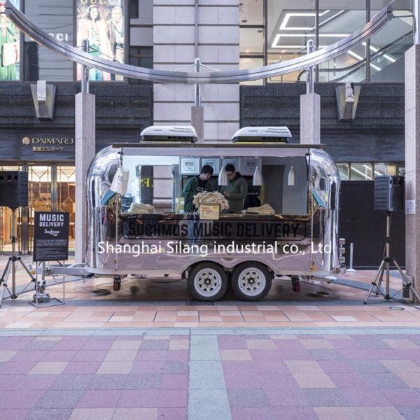 Stainless steel full-mirror panel trailer Gourmet snack cart playground ice cream cart