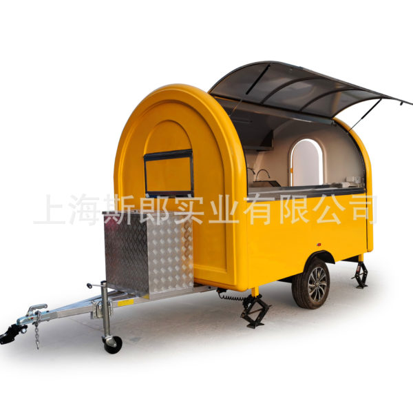 Dutch German-French-British standard towing towing dining car with refrigerator water tank oven waffle smoke machine