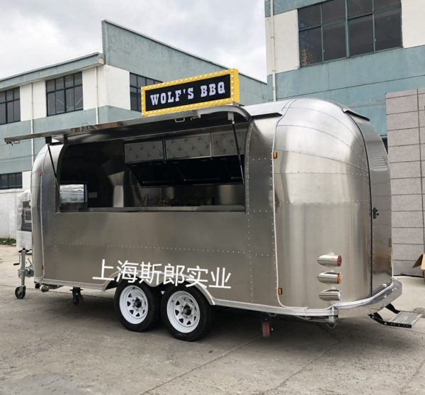 Factory production scenic snack truck trailer stainless steel motorhome