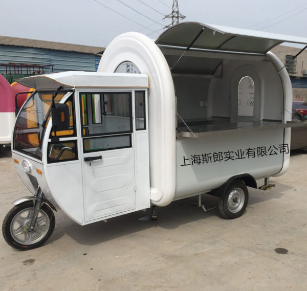 Manufacturers produce electric breakfast car all-white electric rain shed snack car convenient flow coffee tea car