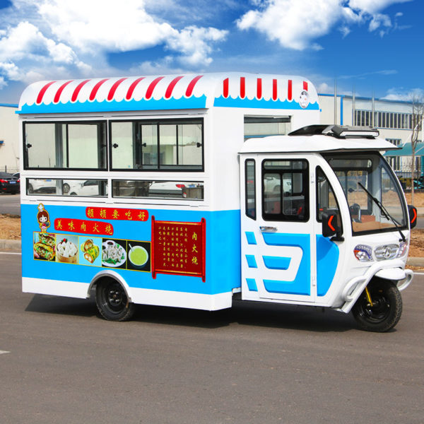 Snack car multi-functional commercial motorhome electric tricyle dining car ice powder fast food truck mobile stall trolley