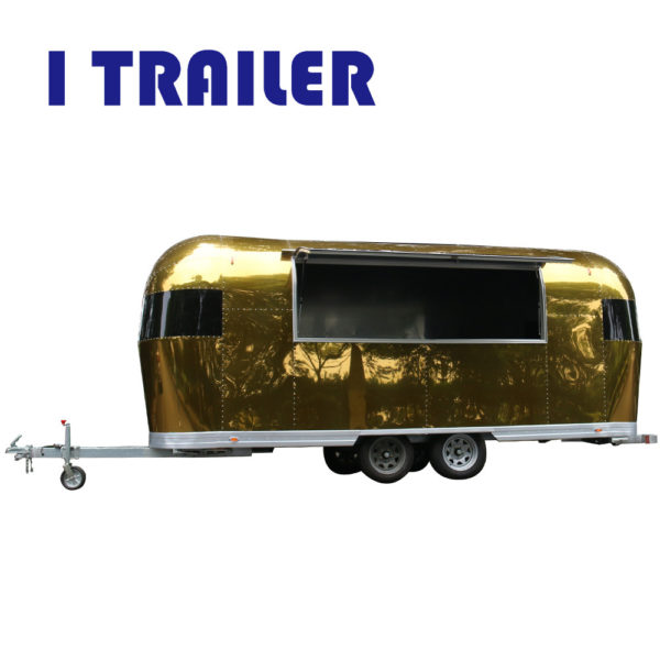 Golden aluminum mobile breakfast car outdoor mobile dining car processing snack food truck
